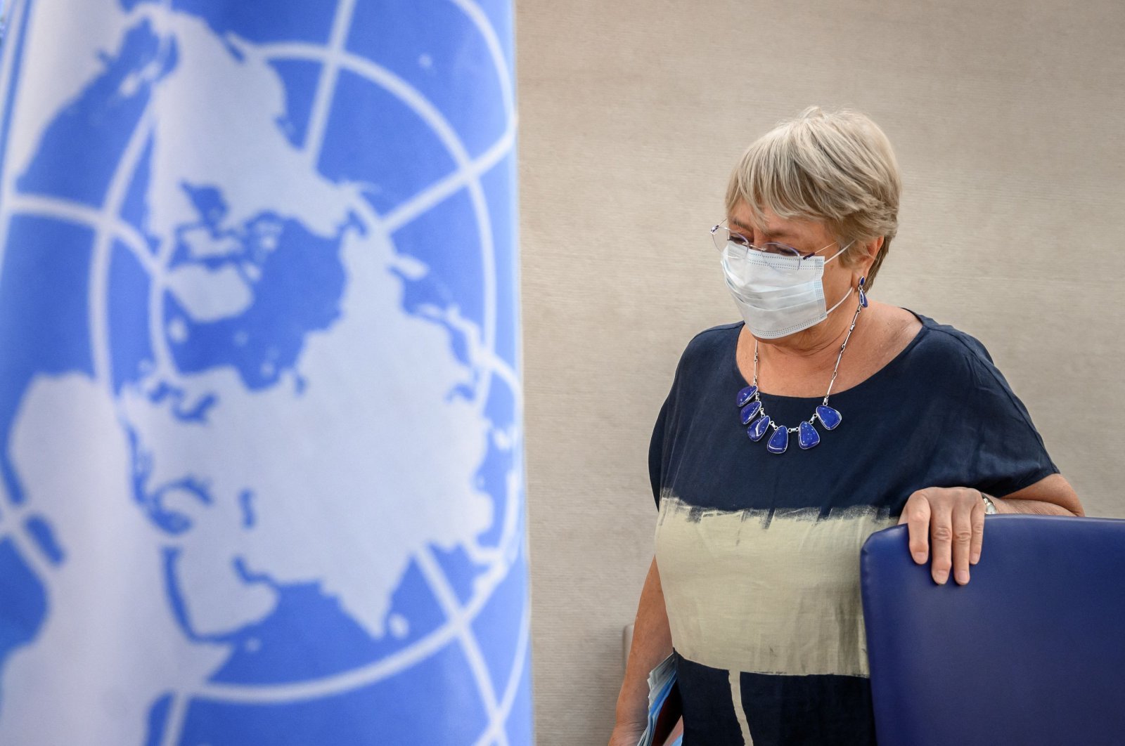 United Nations High Commissioner for Human Rights Michelle Bachelet leaves after delivering a speech at the opening of a session of the U.N. Human Rights Council in Geneva, Switzerland, Sept. 13, 2021. (AFP Photo)