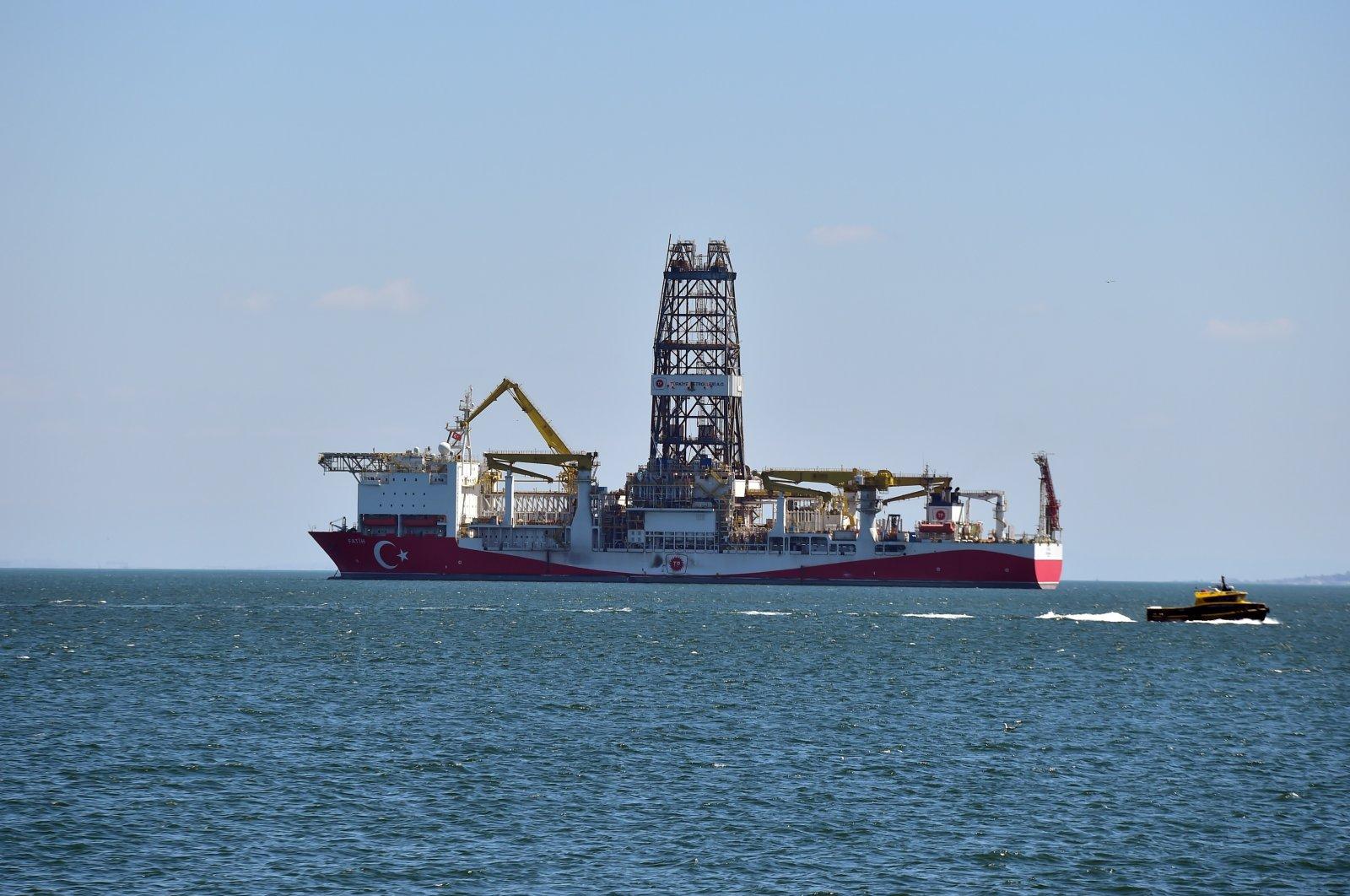 Turkey's Fatih drillship is seen off the shores of Istanbul, Turkey, April 9, 2020. (IHA Photo)