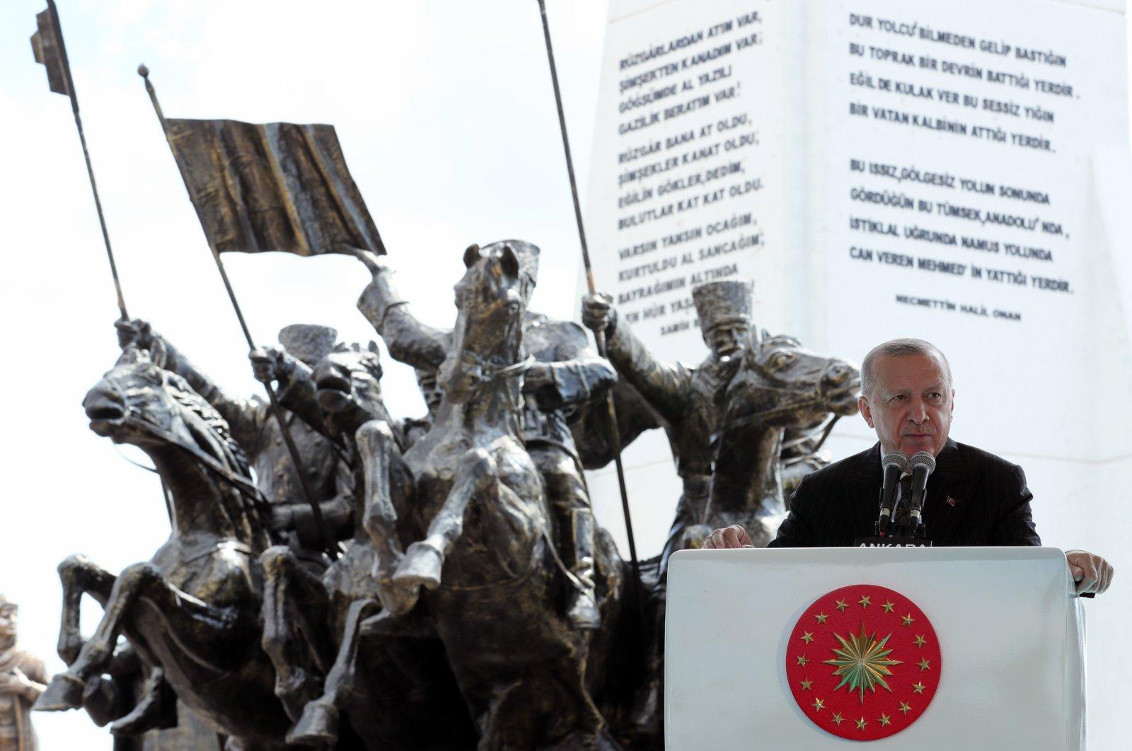 President Recep Tayyip Erdoğan speaks in front of a monument for fallen soldiers of Sakarya, in the capital Ankara, Turkey, Sept. 13, 2021. (AA PHOTO)