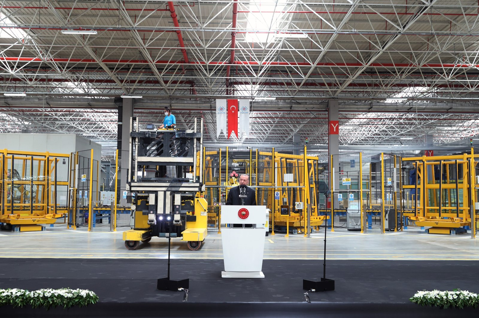 President Recep Tayyip Erdoğan speaks during the opening ceremony of a new production line in Şişecam's factory in the capital Ankara, Turkey, Sept. 13, 2021. (AA Photo)