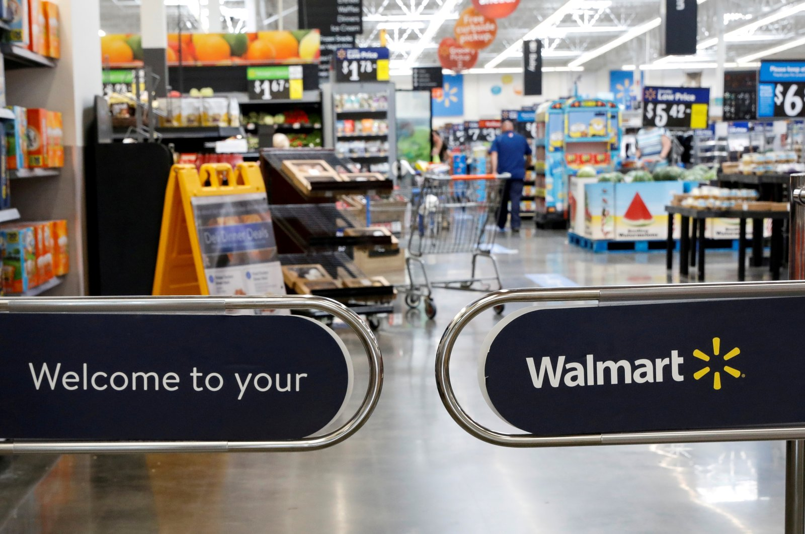 The entrance to a Walmart store is seen in Bradford, Pennsylvania, U.S., July 20, 2020. (Reuters Photo)
