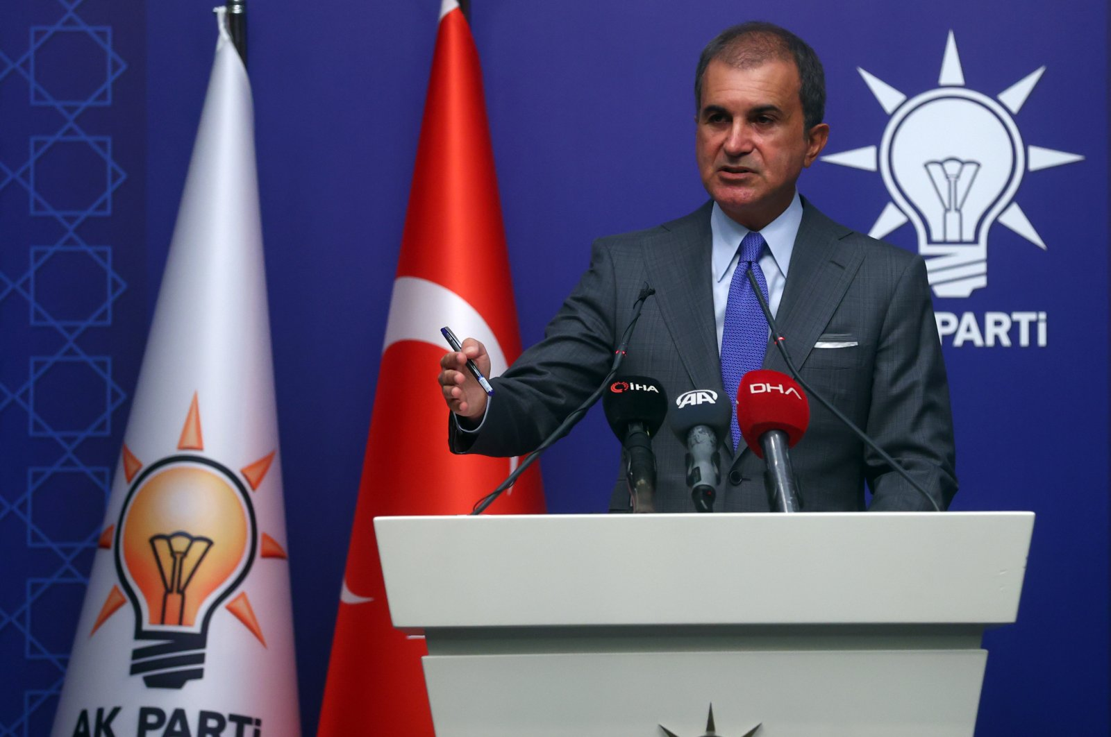 AKParty spokesperson Ömer Çelikspeaks during a press conference after the meeting of the party's Central Executive Board headed by President Recep Tayyip Erdoğan in the capital, Ankara, Turkey, Sept. 14, 2021. (AA Photo)