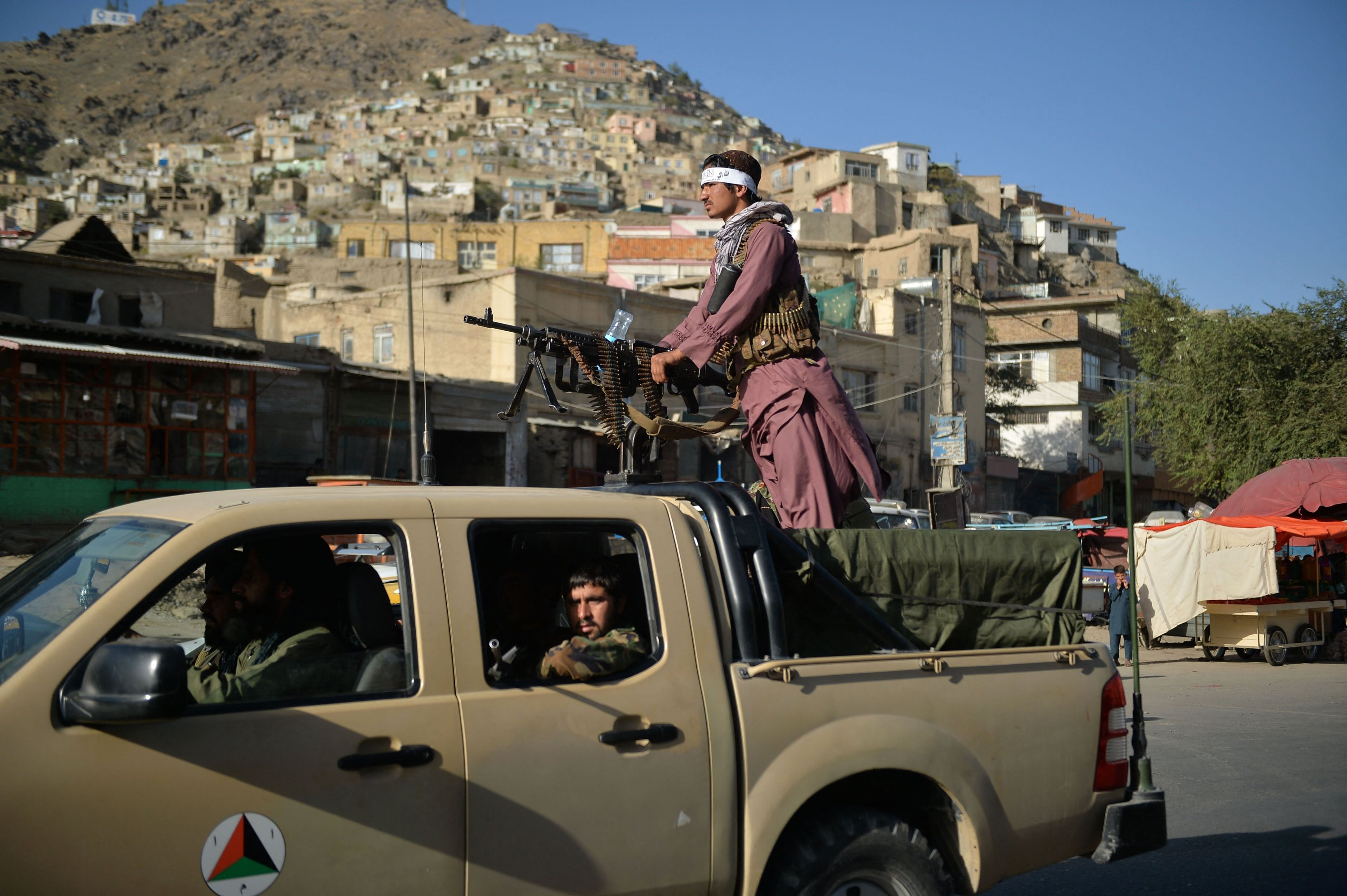 Taliban fighters patrol along a street in Kabul, Afghanistan, Sept. 13, 2021. (AFP Photo)