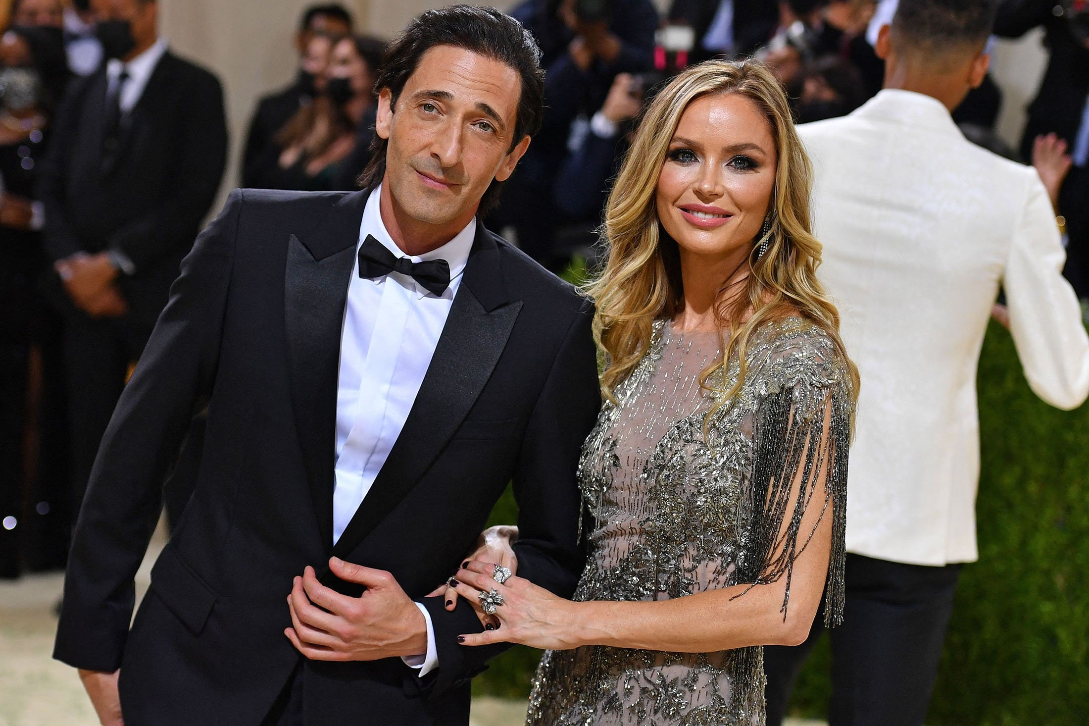 American actor Adrien Brody (L) and English fashion designer Georgina Chapman arrive for the 2021 Met Gala at the Metropolitan Museum of Art, in New York, U.S., Sept. 13, 2021. (AFP Photo)