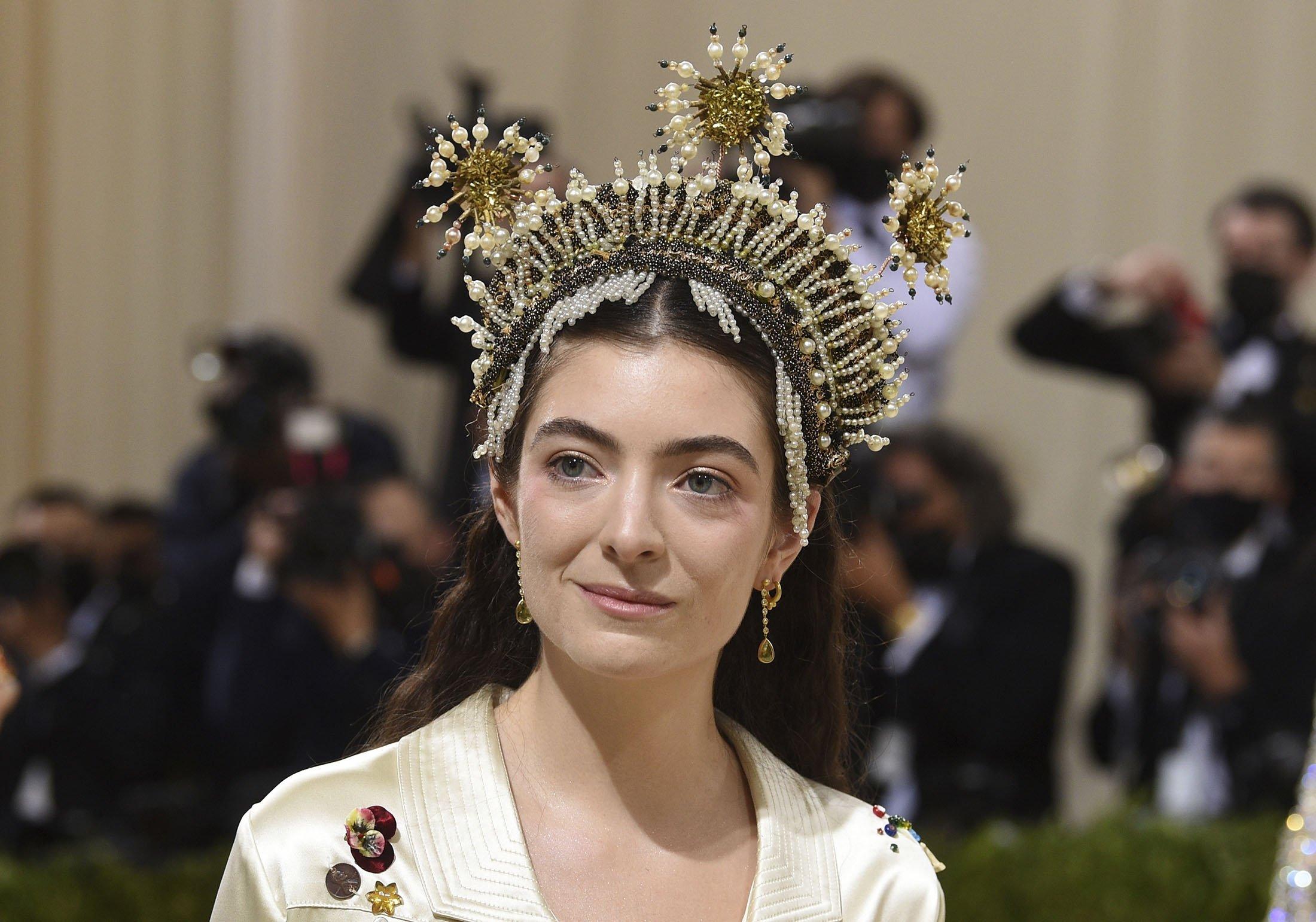 Lorde arrives for the 2021 Met Gala at the Metropolitan Museum of Art, in New York, U.S., Sept. 13, 2021. (AP Photo)