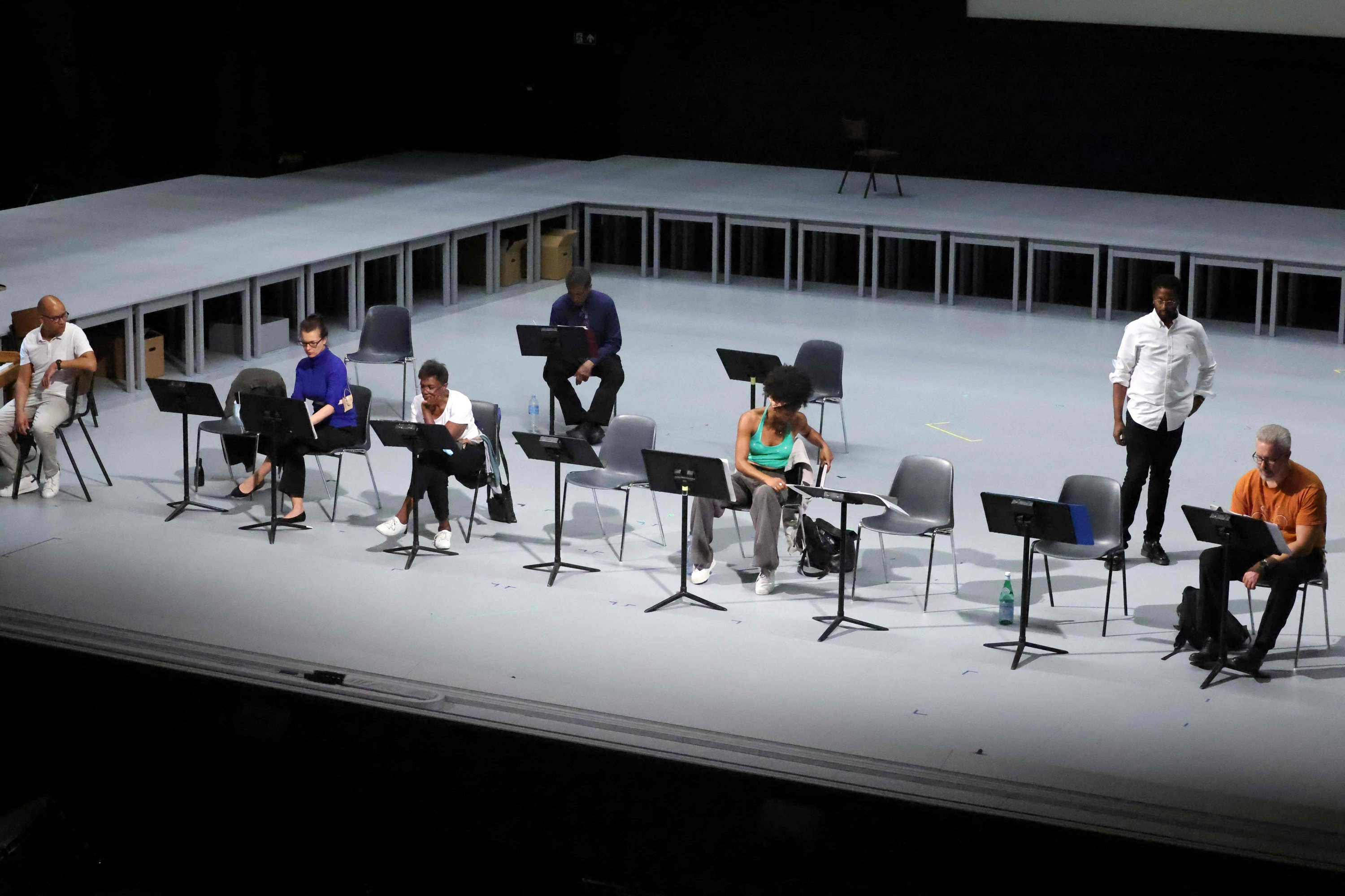 Musicians attend a rehearsal of 'The Time of Our Singing' opera at the Theatre Royal de la Monnaie in Brussels, Belgium, Sept. 3, 2021. (AFP Photo)