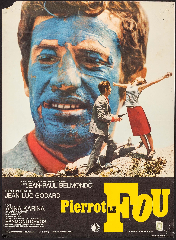 "A poster of ""Pierrot le Fou"" ('Crazy Pierrot')."