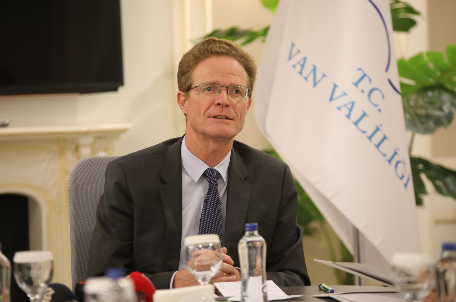 The head of the EU Delegation to Turkey, Nikolaus Meyer-Landrut, speaking at a press conference in eastern Van province, Turkey, Sept. 13, 2021 (AA Photo)