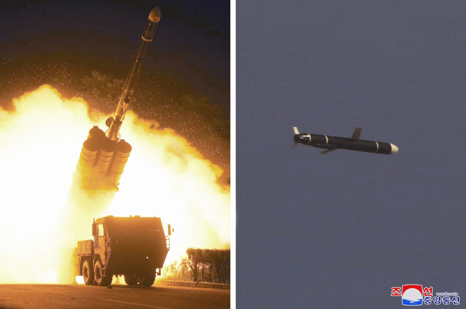 A new type of long-range cruise missile is test-fired in this undated set of pictures released from North Korea's official Korean Central News Agency (KCNA) on Sept. 13, 2021. (KCNA via AFP)