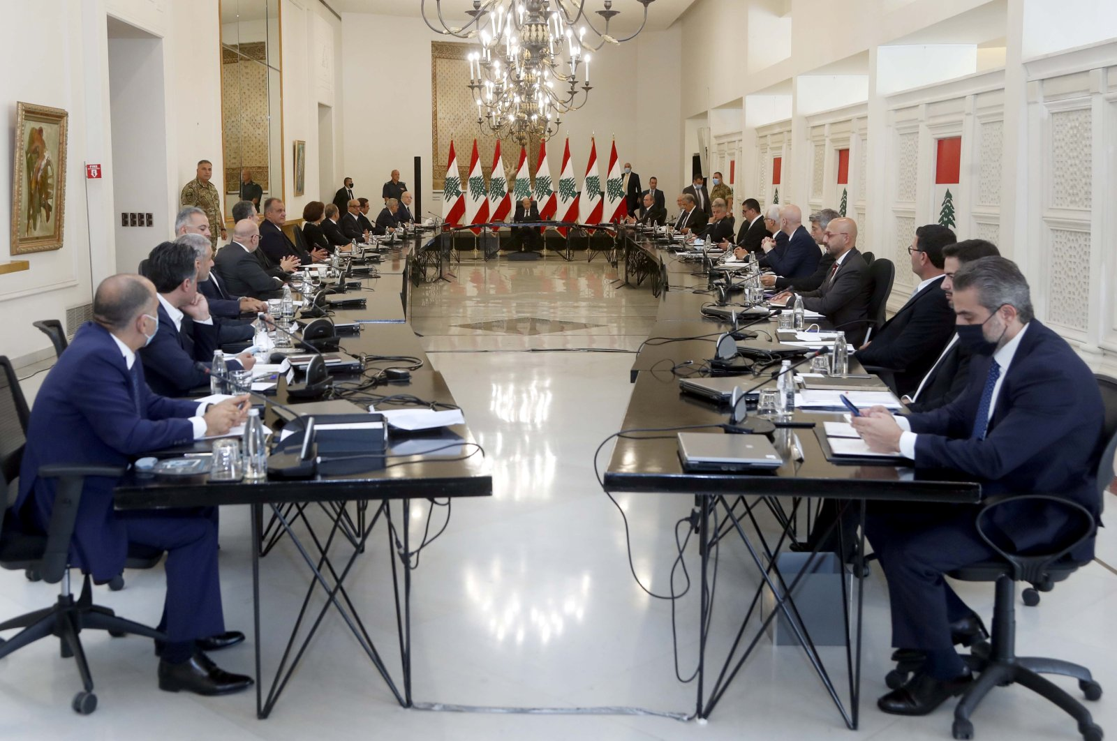 Lebanon's President Michel Aoun heads the new government's first Cabinet meeting at the presidential palace in Baabda, Lebanon, Sept. 13, 2021. (REUTERS Photo)