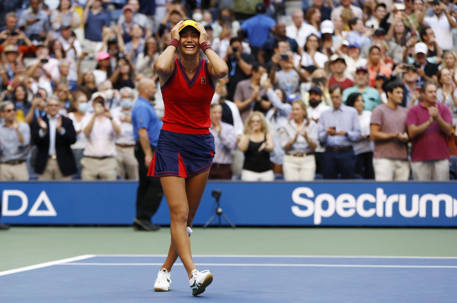 Britain's Emma Raducanu reacts after winning the U.S. Open women's singles final against Canada's Leylah Fernandez, New York, Sept. 12, 2021. (AA Photo)