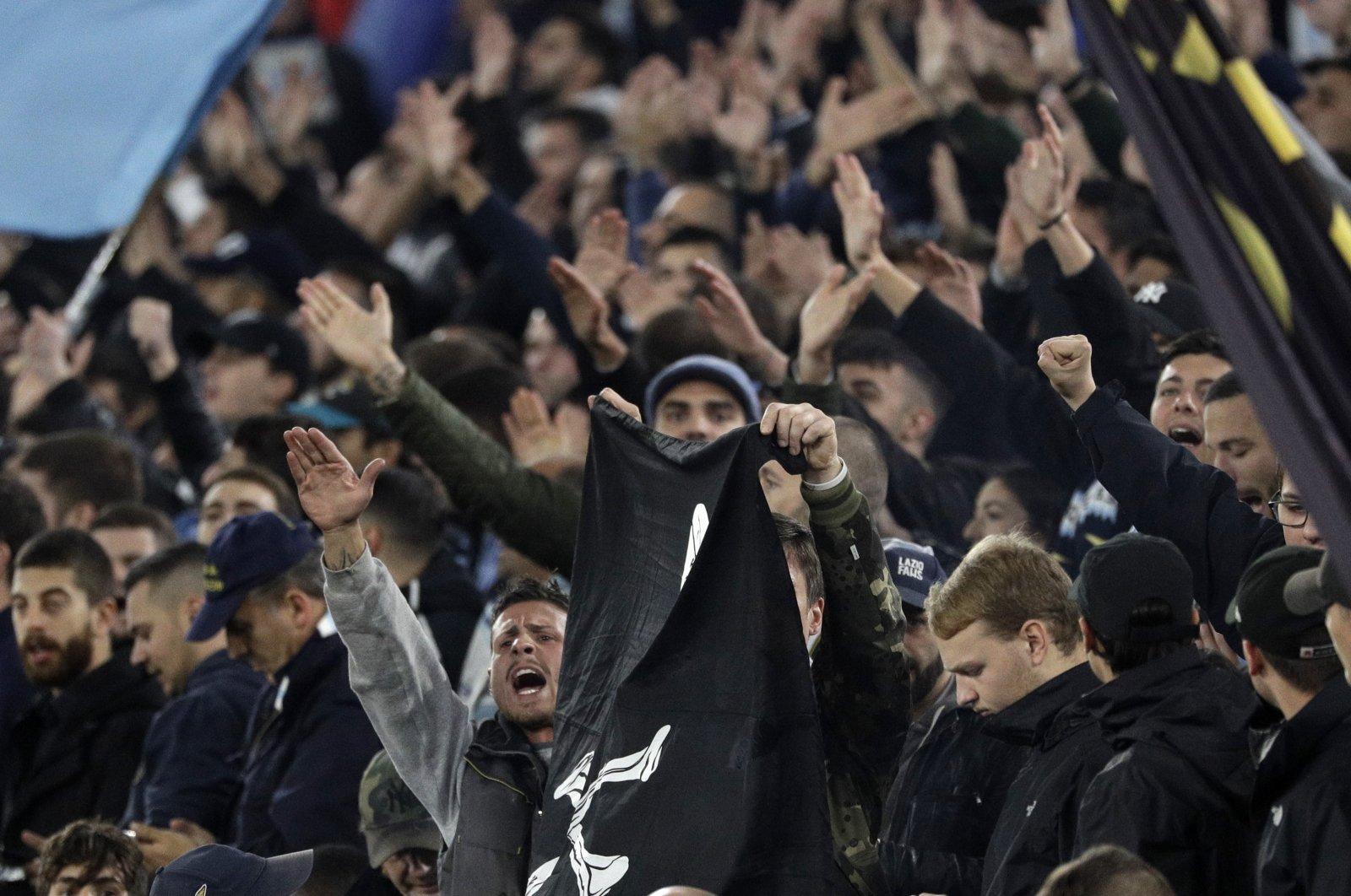 Lazio fans make a fascist salute ahead of an Europa League match between against Celtic, Olympic Stadium, Rome, Italy, Nov. 7, 2019 (AP Photo)