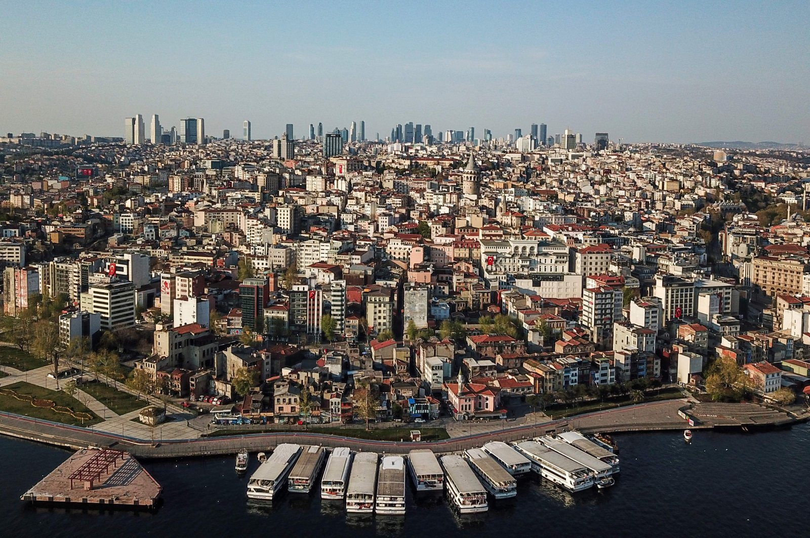 An aerial view of the Galata tower (C) and the Beyoğlu district in Istanbul, Turkey, April 26, 2020. (AFP Photo)