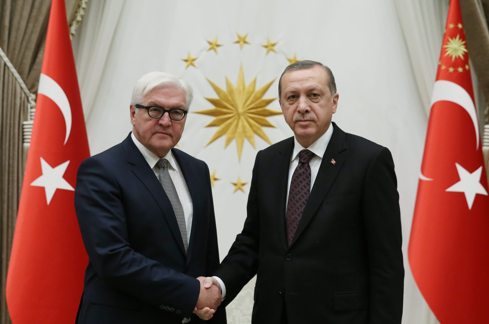 President Recep Tayyip Erdoğan together with then Foreign Minister and current German President Frank Walter-Steinmeier at the Presidential Complex, Ankara, Nov. 15, 2016 (AA Photo)