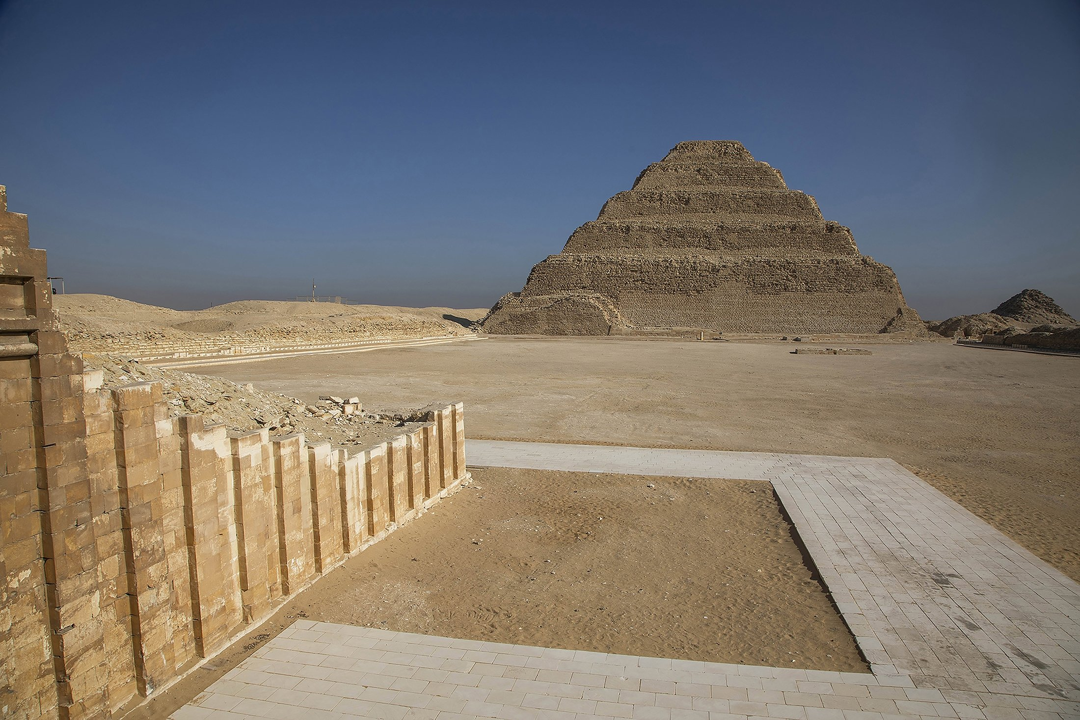 The famed Step Pyramid is seen near the southern cemetery of King Djoser in Saqqara, south of Cairo, Egypt, Sept. 14, 2021. (AP Photo)
