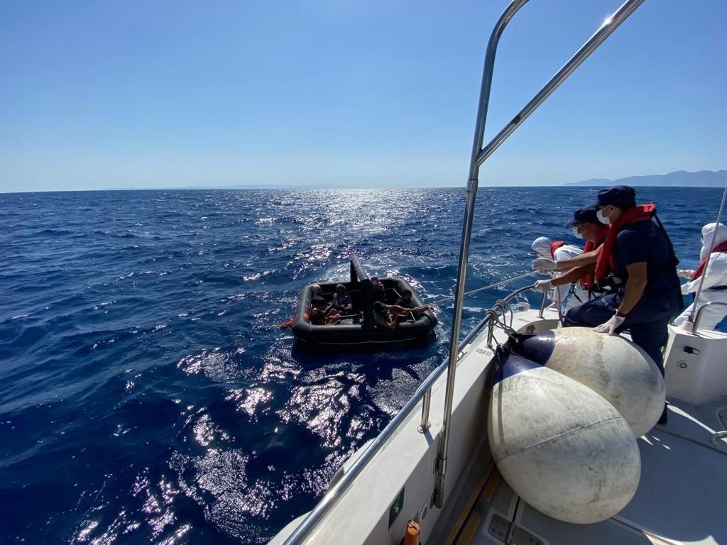 The Turkish coast guard rescued eight irregular migrants in Muğla province's Marmaris district, Turkey, Sept. 14, 2021 (AA Photo)