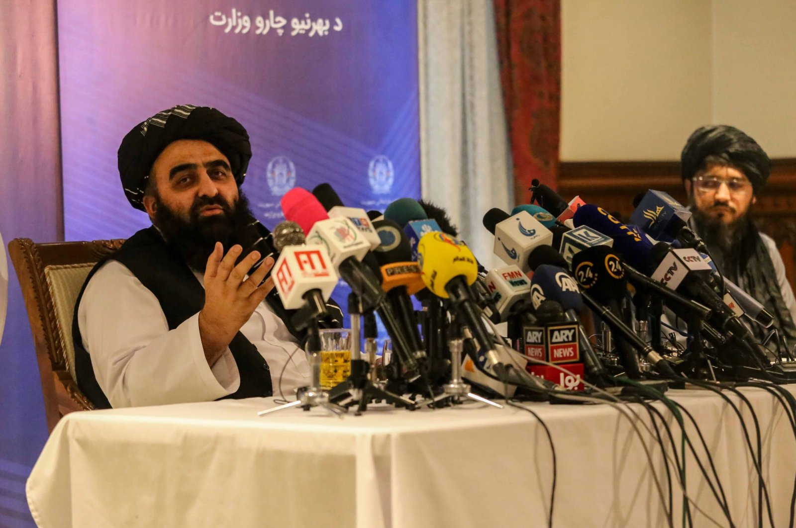 Amir Khan Muttaqi, the Taliban's acting Foreign Minister, talks with journalists during a press conference in Kabul, Afghanistan, Sept. 14, 2021. (EPA Photo)