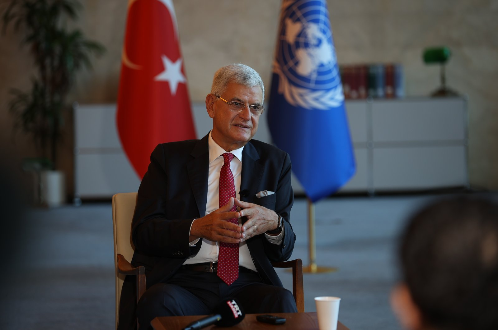 Volkan Bozkır, the president of the 75th U.N. General Assembly, speaks to reporters in New York, U.S., Sept. 14, 2021. (AA Photo)