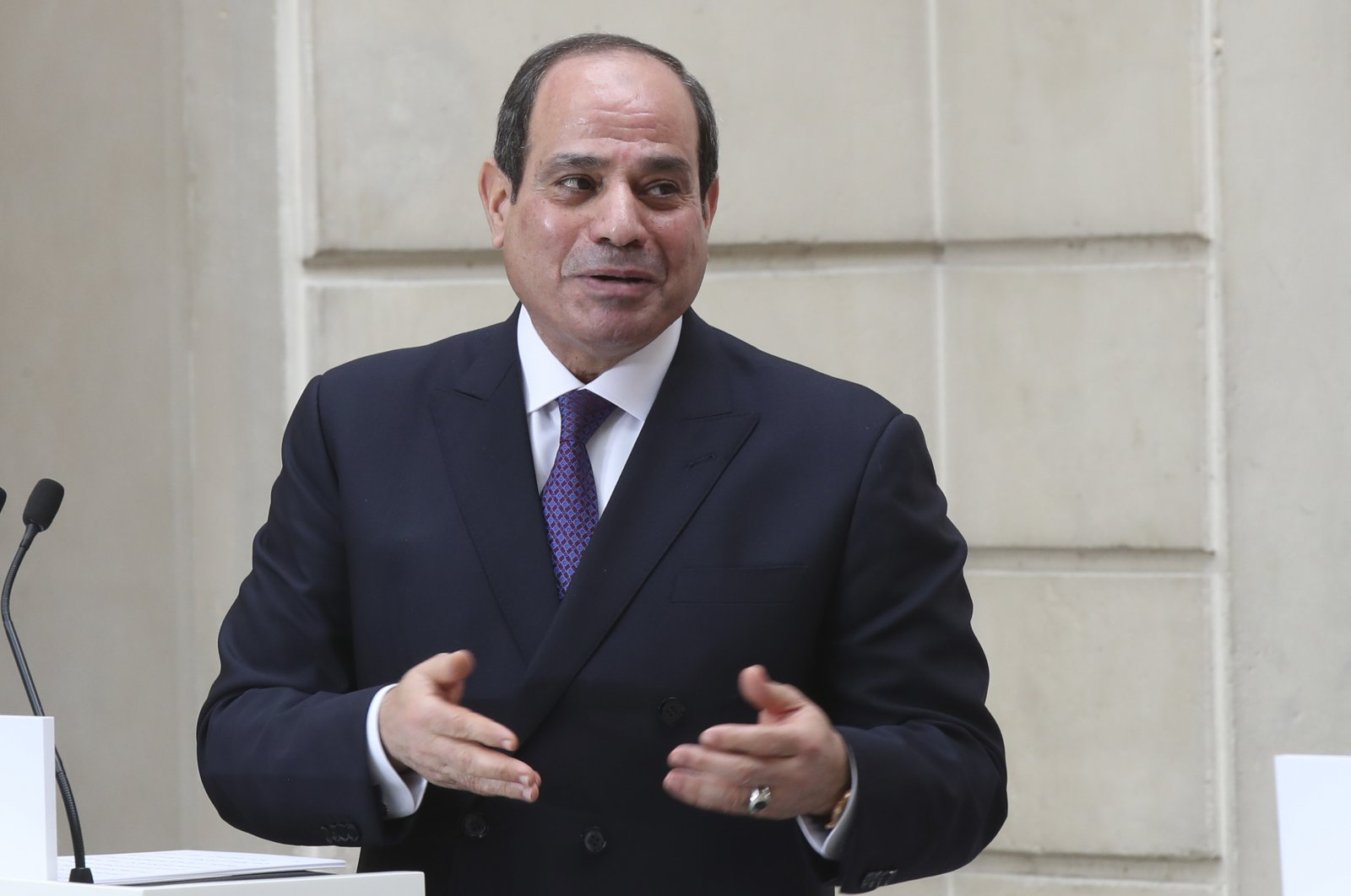 Egyptian President Abdel-Fattah el-Sissi speaks at a joint press conference with French President Emmanuel Macron (not pictured) in Paris, France, Dec. 7, 2020. (AP File Photo)