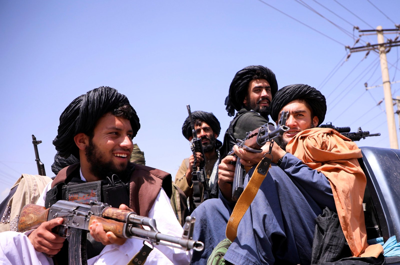 Taliban forces patrol in front of Hamid Karzai International Airport in Kabul, Afghanistan, Sept. 2, 2021. (REUTERS Photo)