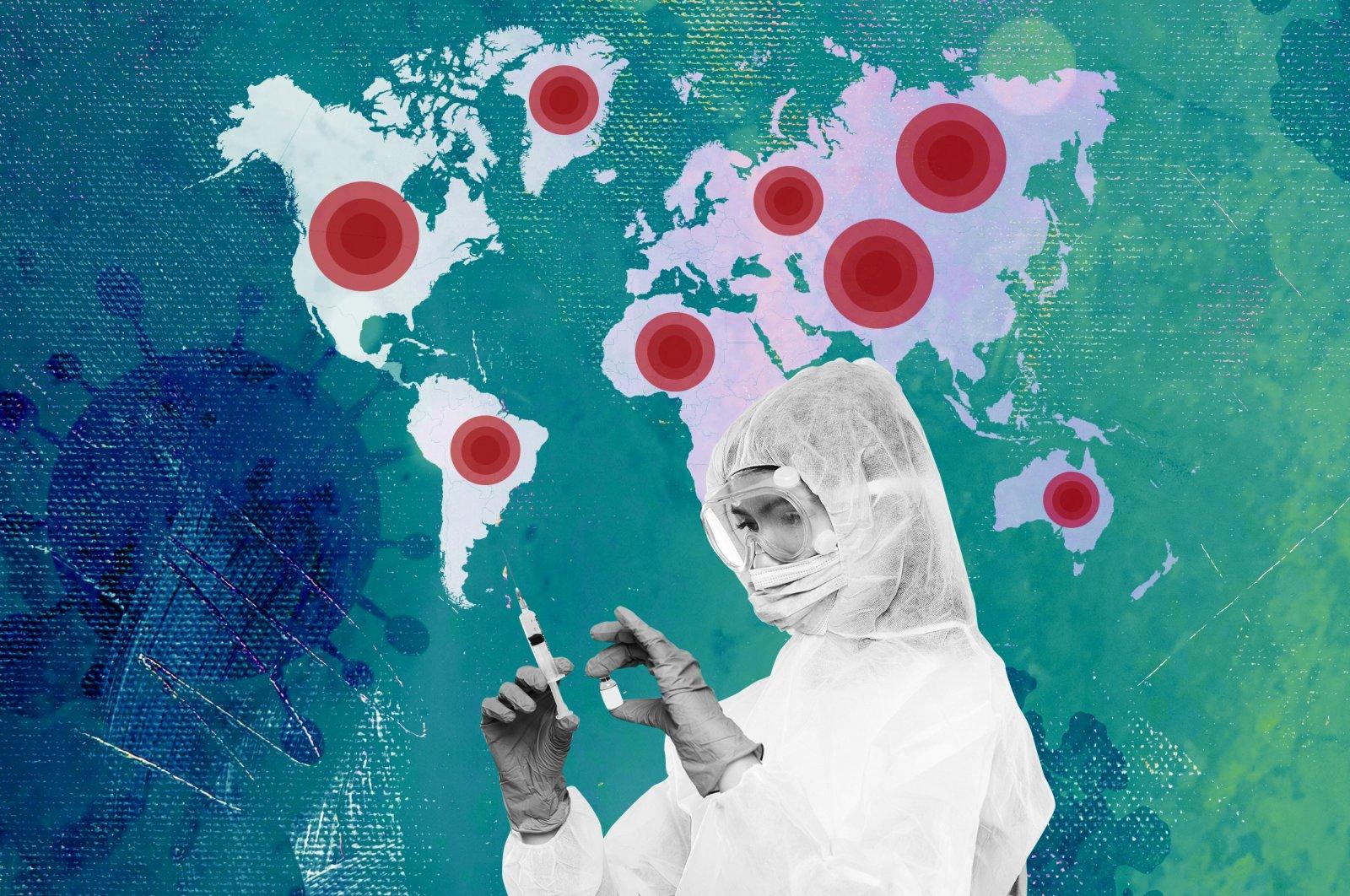 An illustration by Daily Sabah's Büşra Öztürk depicts the deadly spread of the coronavirus pandemic.