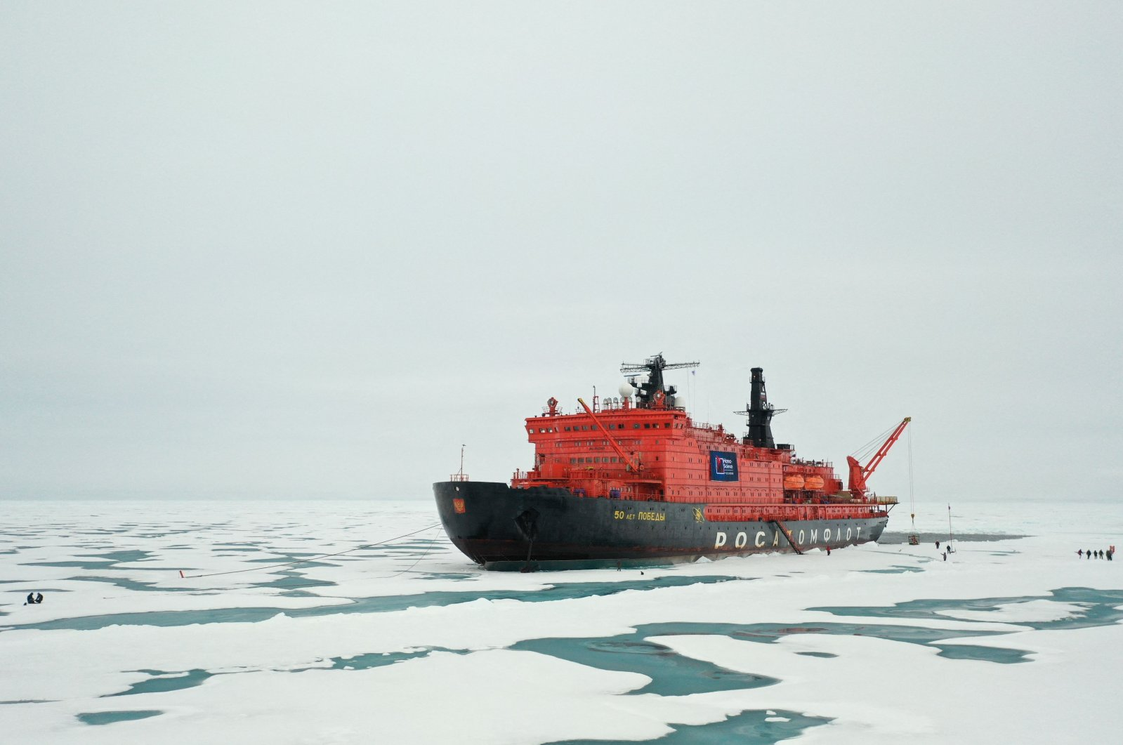"""The Russian """"50 Years of Victory"""" nuclear-powered icebreaker is seen at the North Pole, Aug. 18, 2021. (Ekaterina Anisimova / AFP)"""
