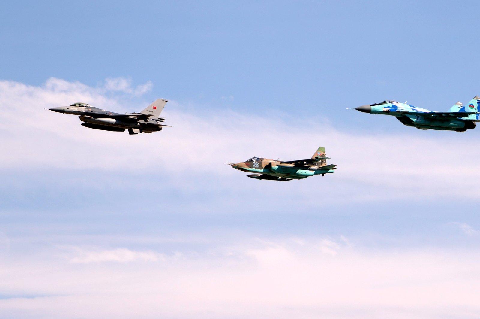 Fighter jets participate in joint Turkish-Azerbaijani drill TURAZ Hawk 2021 in Konya, Turkey, Sept. 15, 2021. (AA Photo)