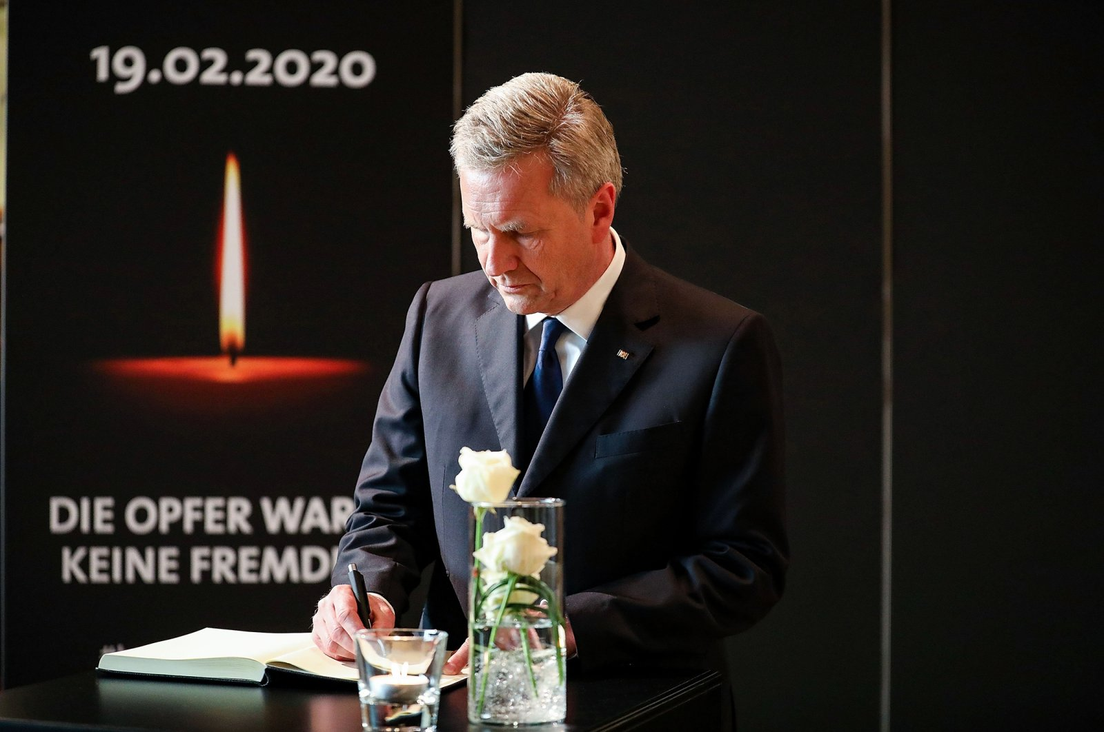 Former German President Christian Wulff during the memorial for the victims of the shooting rampage that killed 11 people in Hanau, Germany, Feb. 4, 2020. (Getty Images)