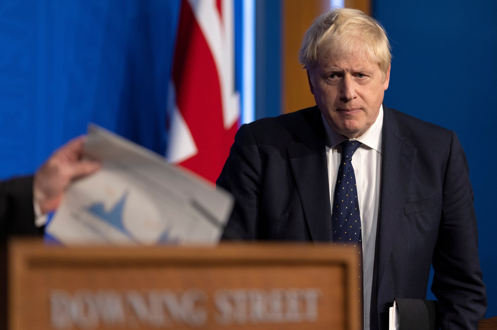 Britain's Prime Minister Boris Johnson holds a news conference on a winter COVID-19 plan in the Downing Street Briefing Room in London, Britain, Sept. 14, 2021. (Reuters Photo)