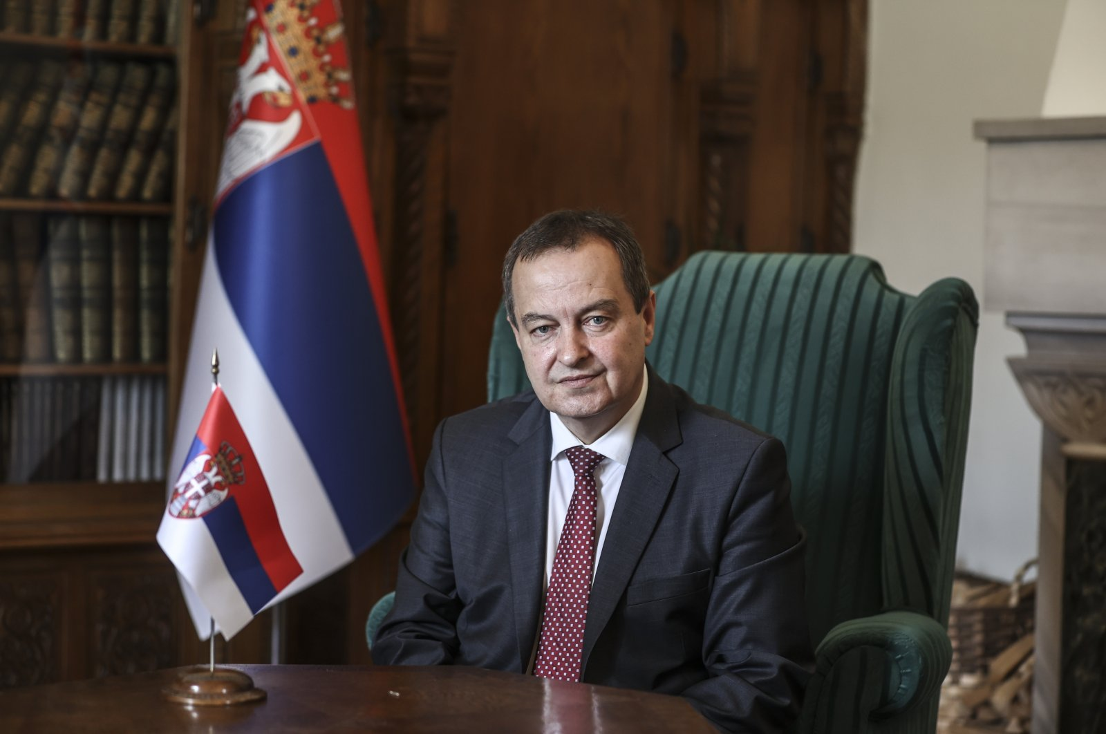 Serbian Parliament Speaker Ivica Dacic speaks to Anadolu Agency (AA) in Ankara, Turkey, Sept. 15, 2021. (AA Photo)