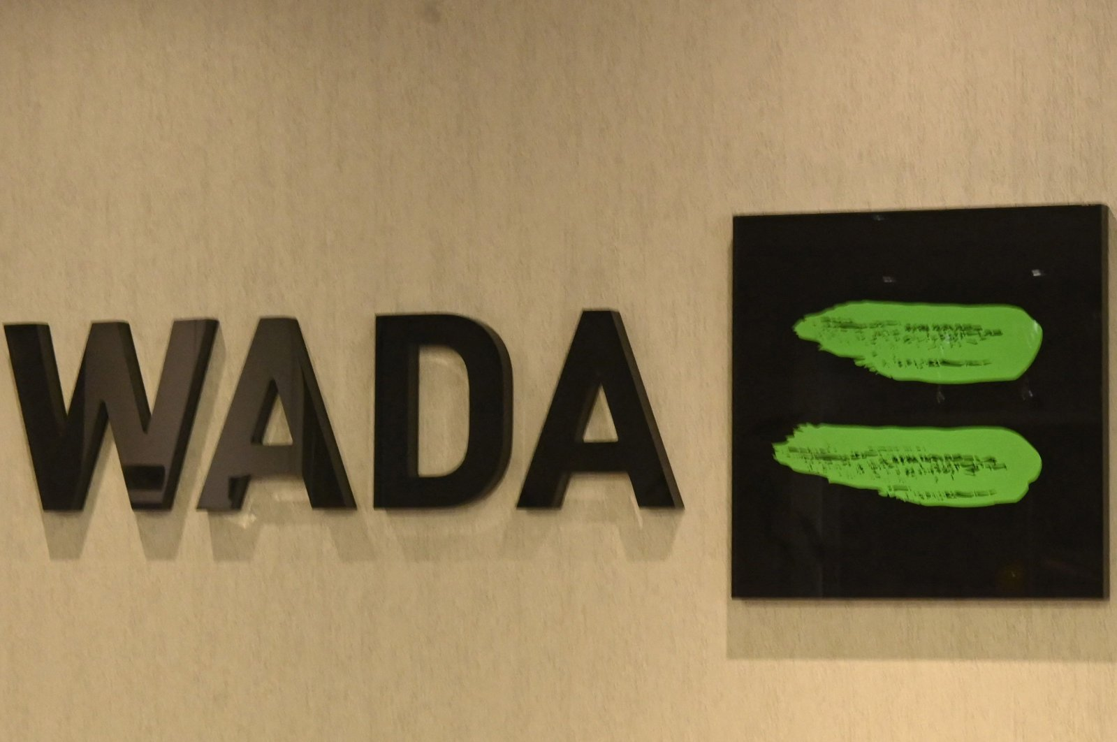 The World Anti-Doping Agency (WADA) logo is seen at its headquarters in Montreal, Quebec, Canada, Dec. 17, 2020. (AFP Photo)