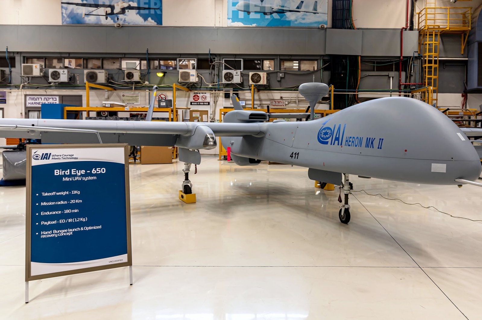 """Heron MK II"" UAV of the Israel Aerospace Industries, Ben Gurion Airport, Israel, May 4, 2021. (Shutterstock Photo)"