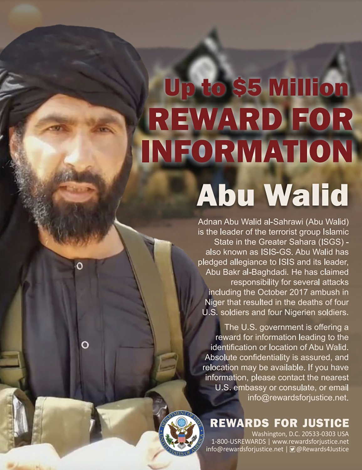 """This undated image provided by Rewards For Justice shows a wanted poster of Adnan Abu Walid al-Sahrawi, the leader of Daesh in the Greater Sahara. French President Emmanuel Macron announced the death of al-Sahrawi, Sept. 15, 2021, calling the killing """"a major success."""" (AP Photo)"""