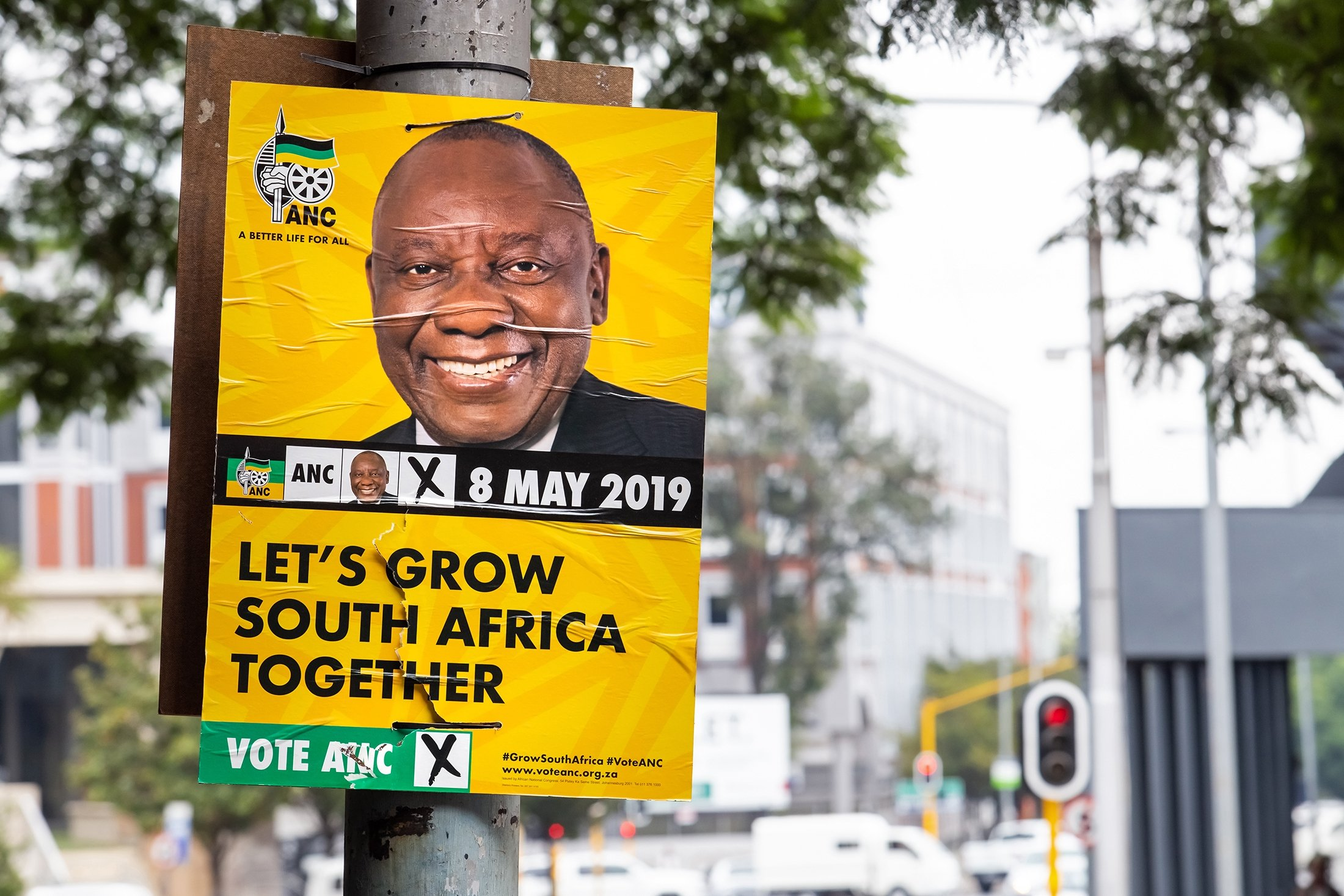Political election posters, showing Former President of South Africa Jacob Zuma and his party African National Congress (ANC), attached to polls in the city center, Johannesburg, South Africa, March 22, 2019. (Shutterstock Photo)