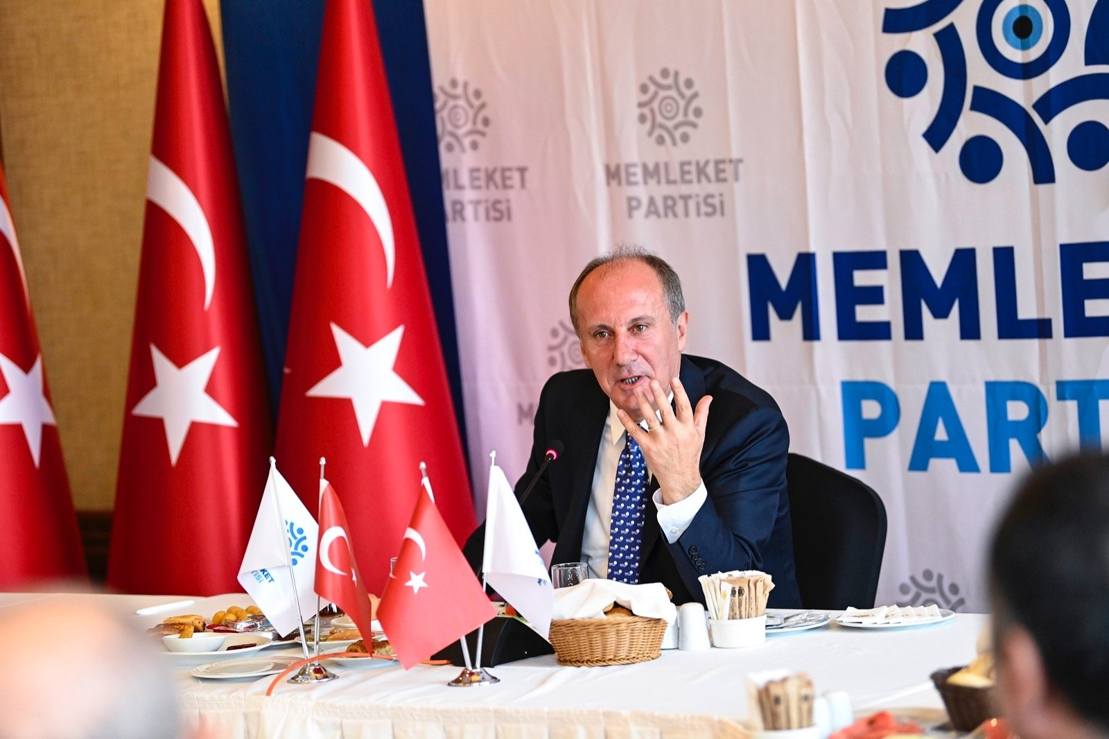Homeland Party Chairperson Muharrem Ince speaks to reporters in Ankara, Turkey, Sept. 16, 2021. (DHA Photo)