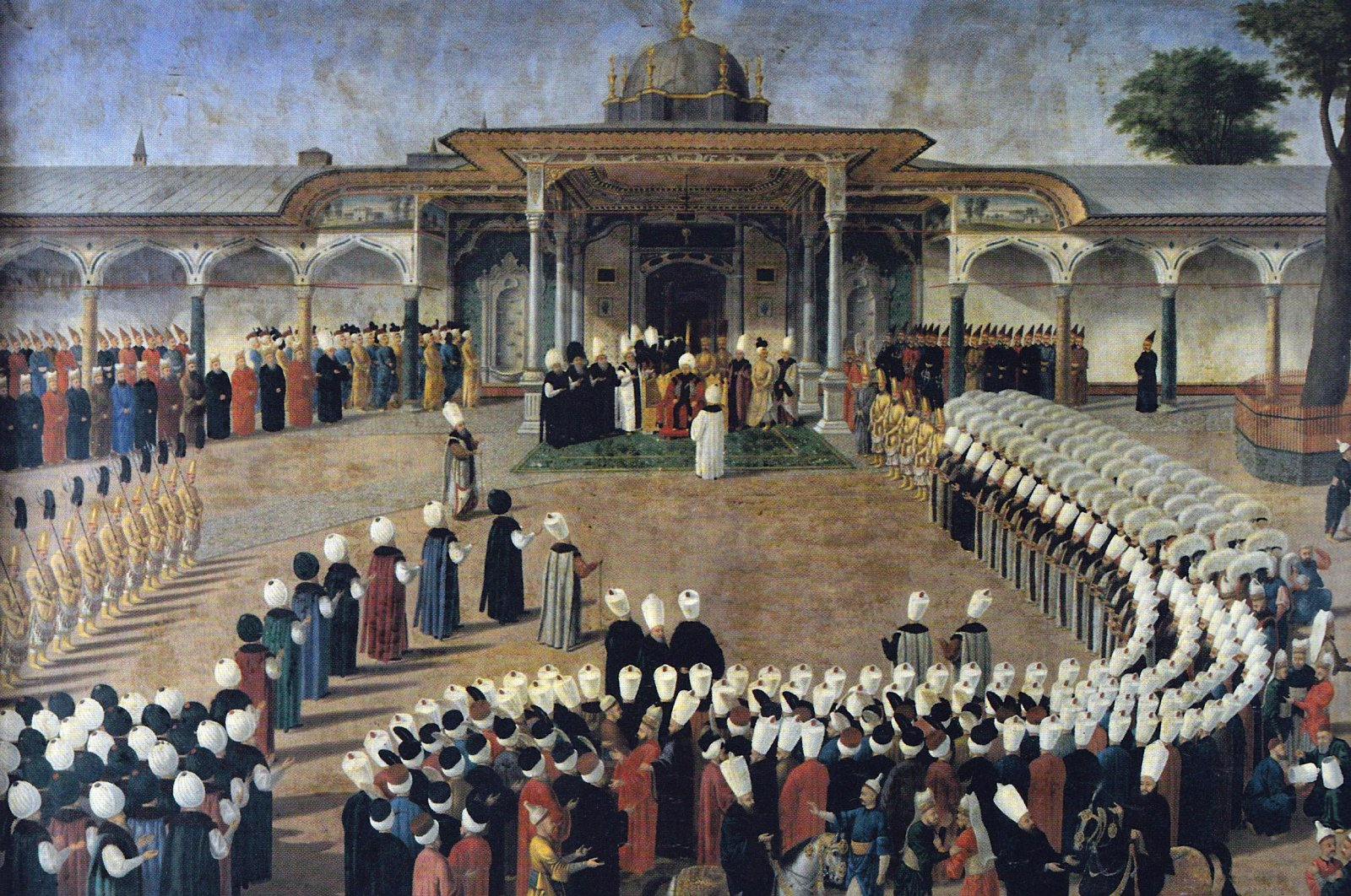 Selim III receives dignitaries during an audience at the Gate of Felicity, Topkapı Palace in the Painting by Konstantin Kapıdağlı, 1789. (Wikimedia Photo)