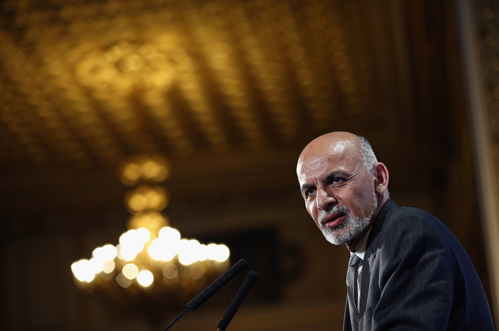 Afghanistan's President Ashraf Ghani speaks to delegates and ministers during the London Conference on Afghanistan, London, U.K., Dec. 4, 2014. (Getty Images)