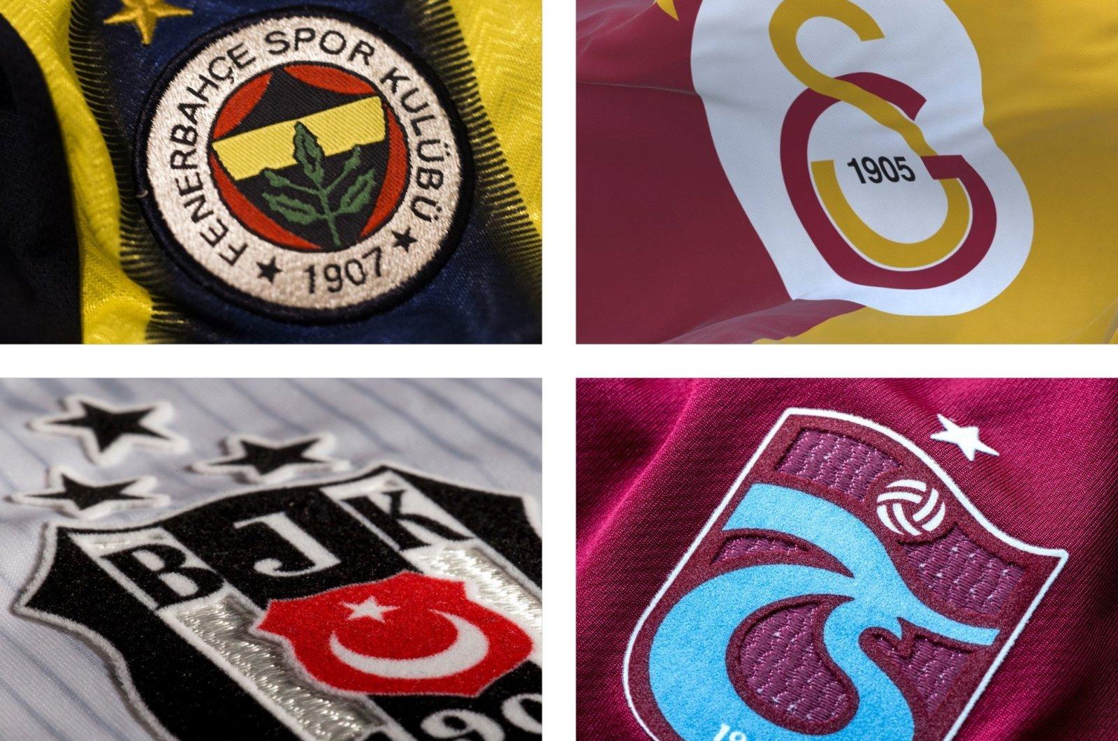 This photo combinations show the logos of Turkish football's Big Four – Fenerbahçe, Galatasaray, Beşiktaş and Trabzonspor.