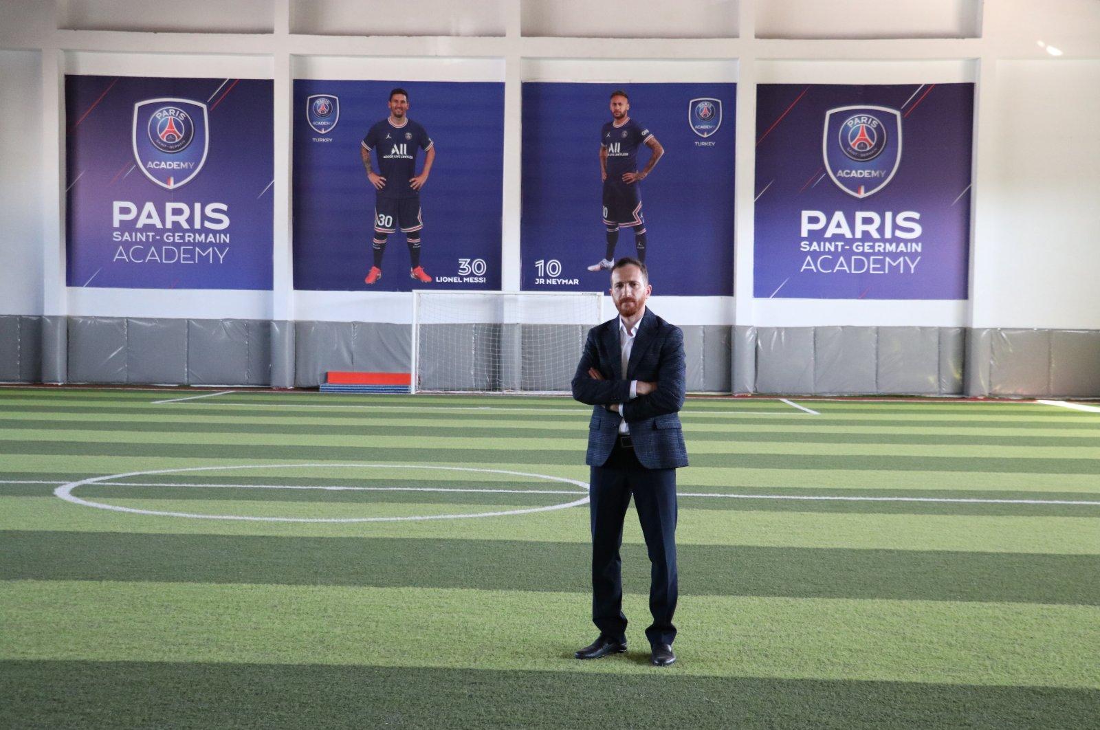 Ahmet Dal, the head of Erzurum Metropolitan Municipality's sports branch, at the newly opened Paris Saint-Germain (PSG) football academy, Erzurum, eastern Turkey, Sept. 15, 2021. (AA Photo)