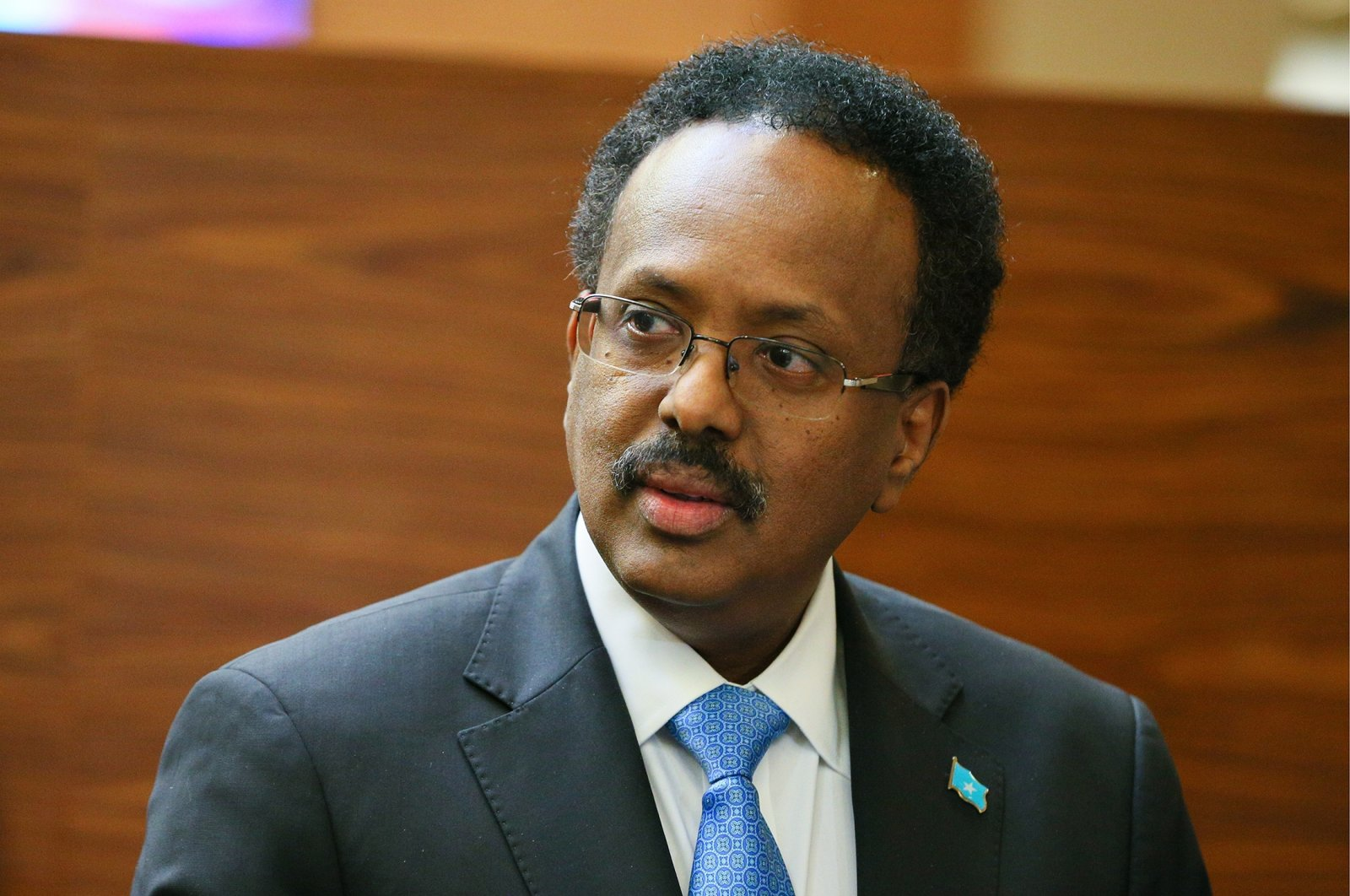 Somalia's President Mohamed Abdullahi Mohamed, known as Farmajo, is welcomed at Sochi International Airport as he arrives to take part in the 2019 Russia-Africa Summit, Sochi, Russia, Oct. 22, 2019. (Getty Images)