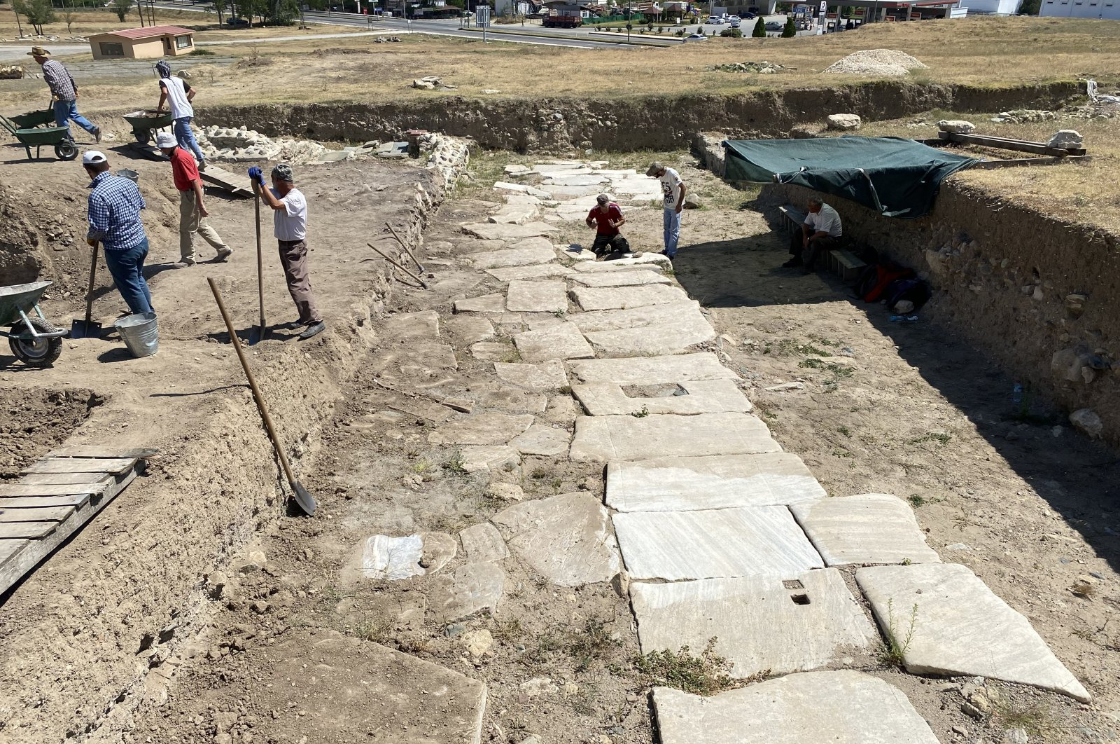 The archaeological team works on excavations in the ancient city ofPompeiopolis, in Kastamonu, northernTurkey, Sept. 16, 2020. (AA Photo)