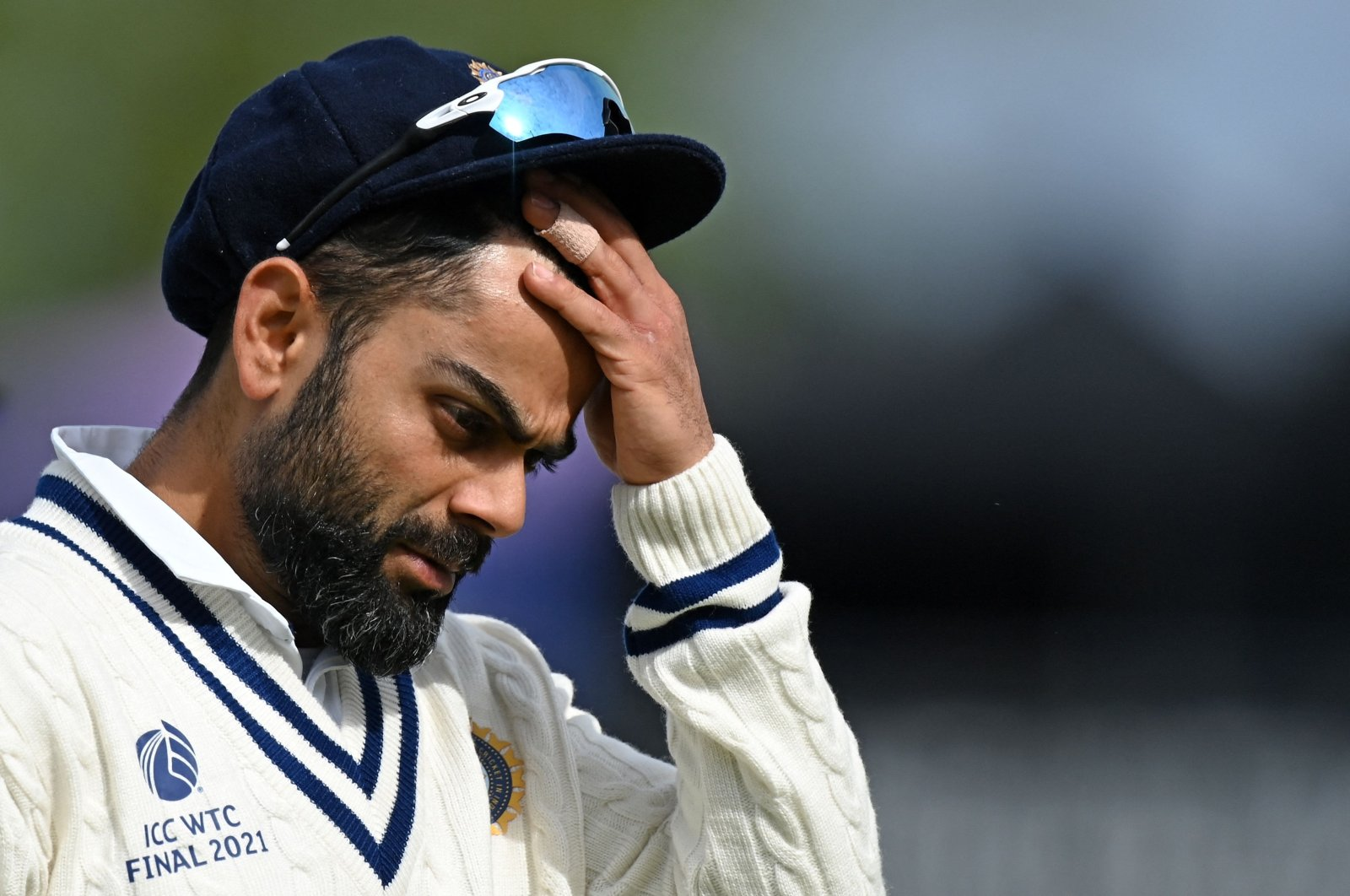India's Virat Kohli reacts as he walks back to the pavilion on the fifth day of the ICC World Test Championship final against New Zealand in Southampton, England, June 22, 2021. (AFP Photo)