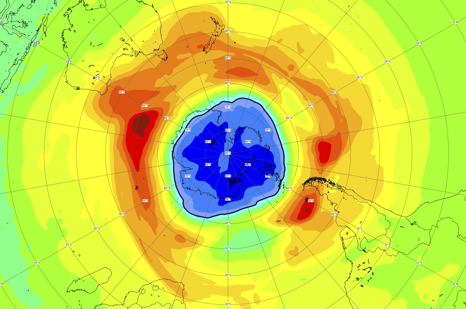 This image, provided on Thursday, Sept. 16, 2021 by the European Space Agency (ESA) shows a map of the ozone hole over the South Pole, Sept. 16, 2021. (AP Photo/European Space Agency, ESA)