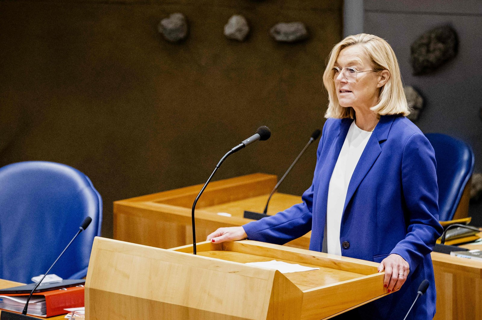 Outgoing Minister Sigrid Kaag of Foreign Affairs (D66) speaks as she resigns at the House of Representatives in the Hague, the Netherlands, Sept. 16, 2021. (AFP Photo)