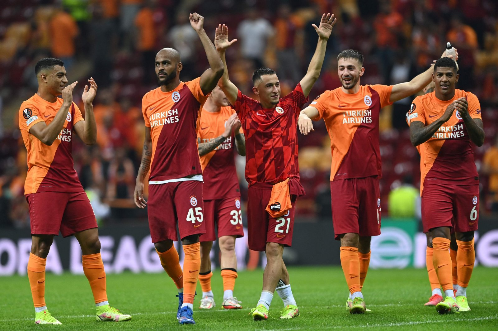 Galatasaray players celebrate after winning the UEFA Europa League group E football match between Galatasaray and Lazio at the Ali Sami Yen Sports Complex in Istanbul, Turkey, Sept. 16, 2021. (AFP Photo)
