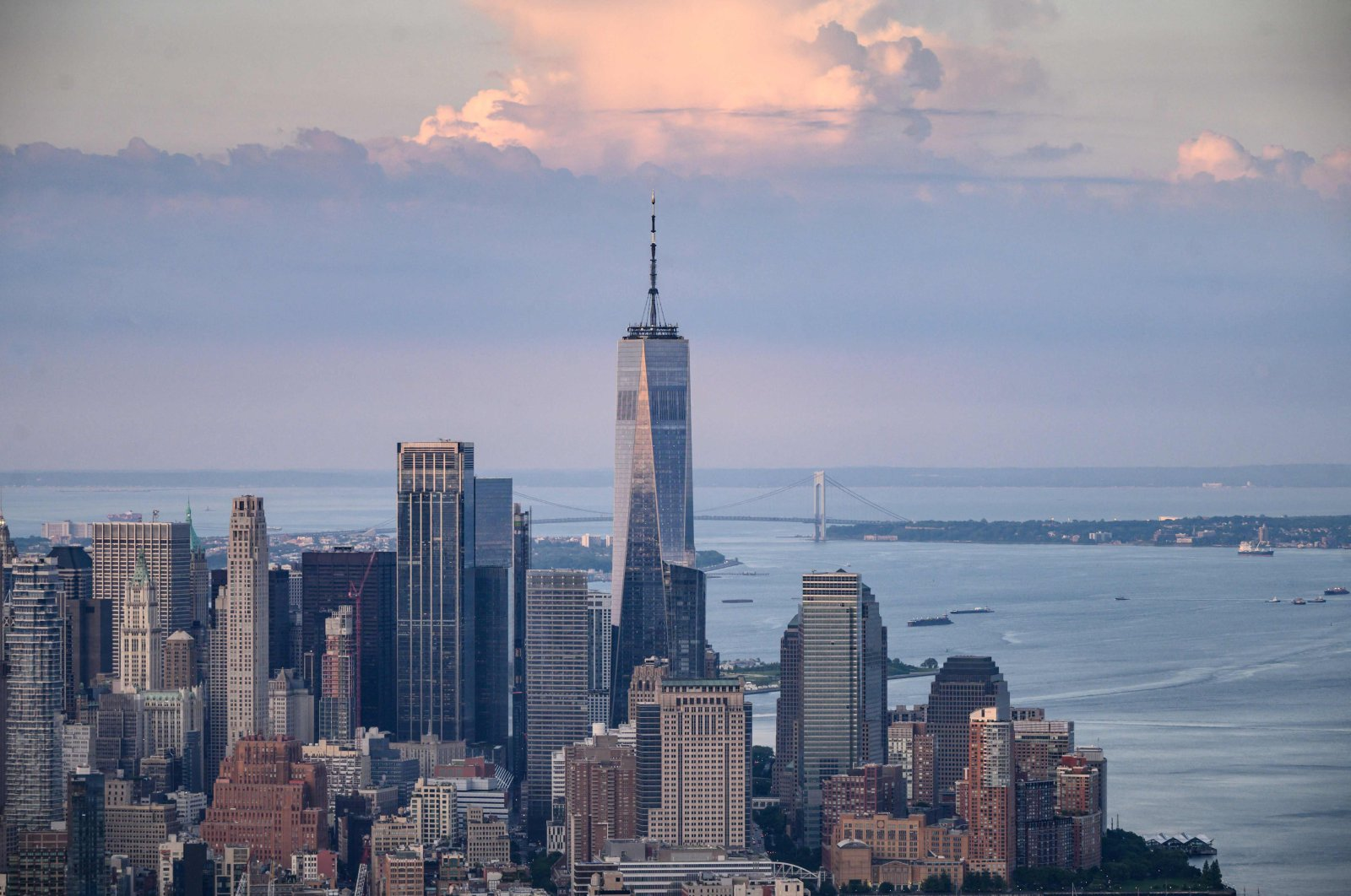 """The One World Trade Center """"Freedom Tower"""" rises above the Manhattan skyline in New York, U.S., June 10, 2021. (AFP Photo)"""