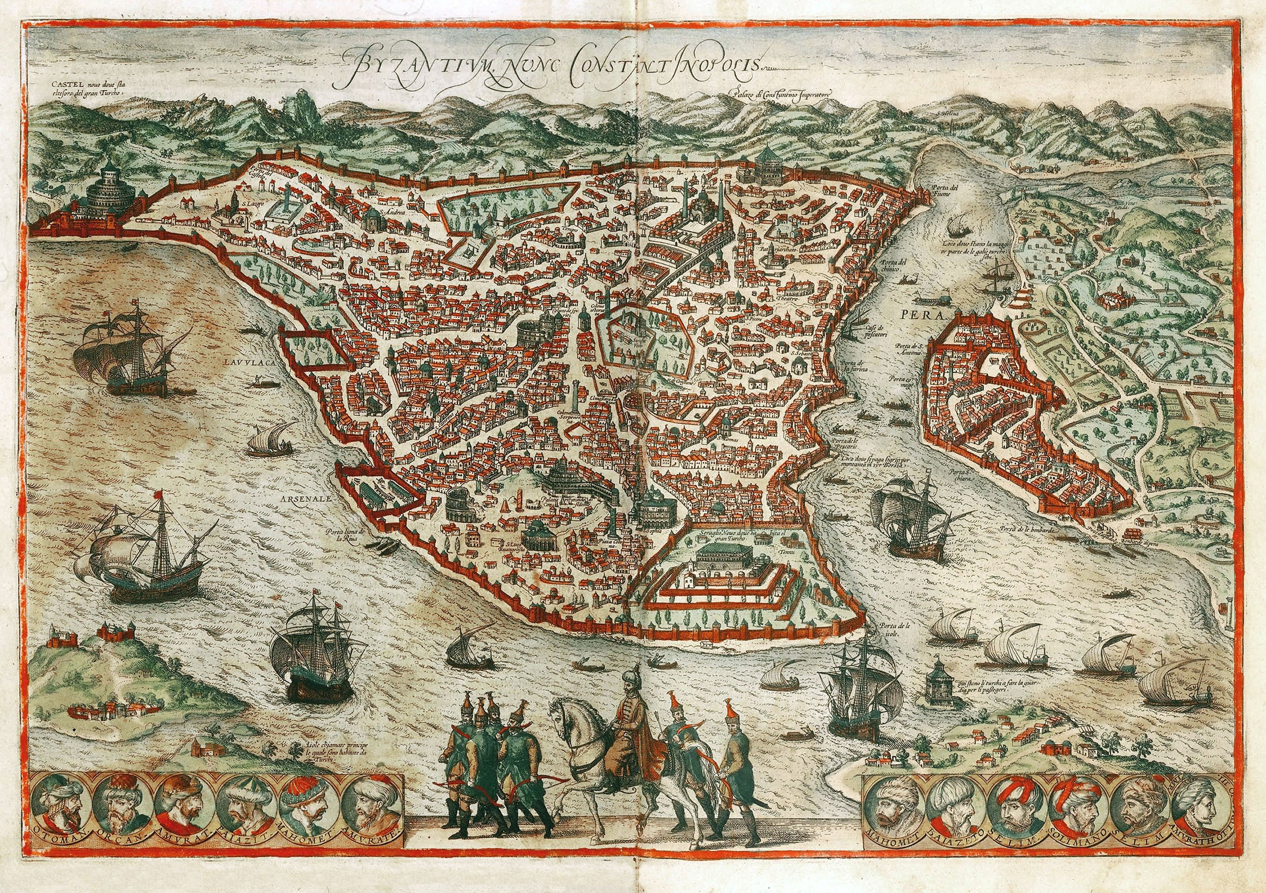 A map of old Istanbul, contained within the great walls of Constantinople. On the right is the smaller fort of Pera, on the other side of the Golden Horn estuary. The map is from the book 'Civitates orbis terrarum,' published in 1617. (Getty Images)