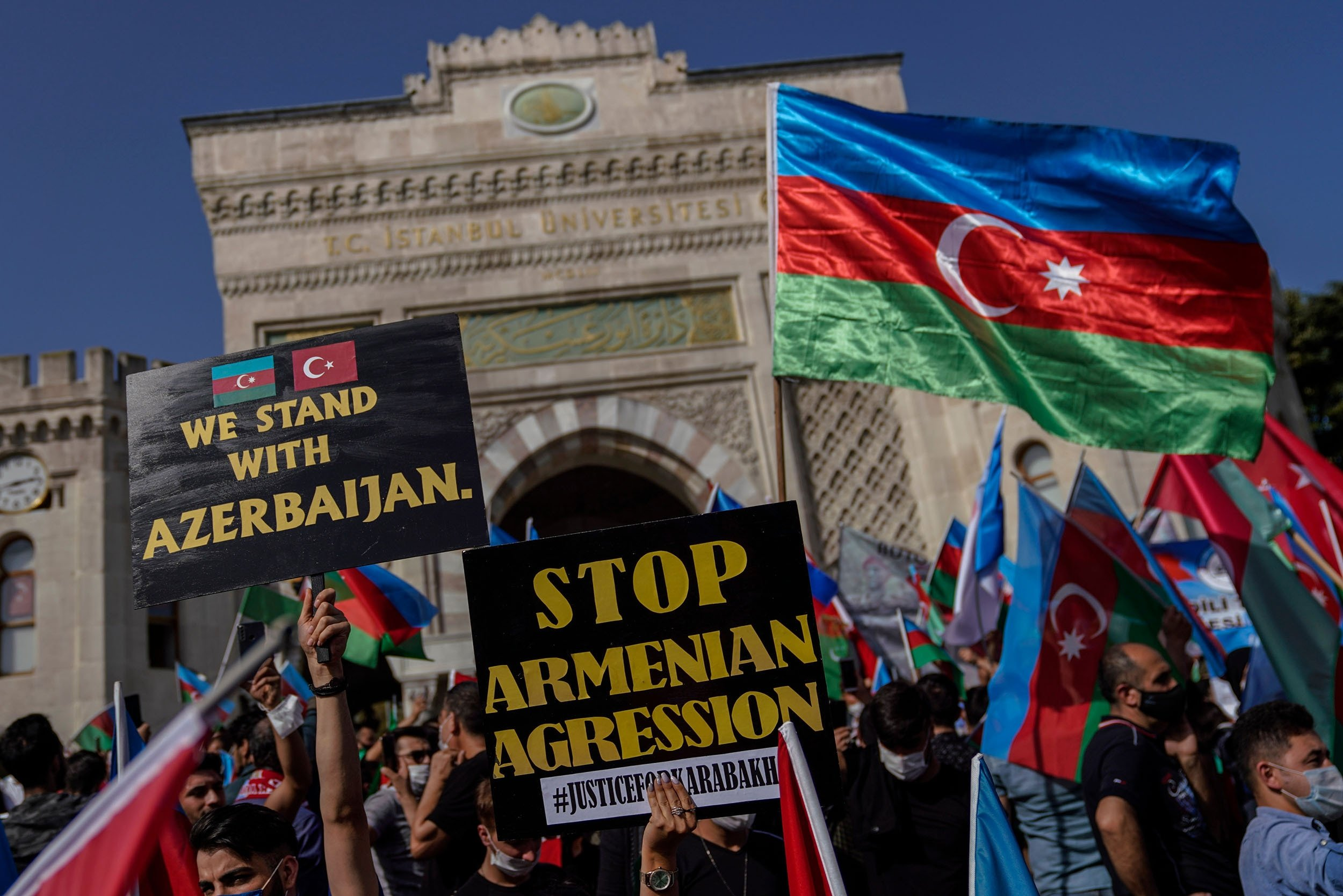 Demonstrators with Azerbaijan flags take part in a protest against Armenia, in Istanbul, Turkey, Oct. 4, 2020. (Shutterstock Photo)