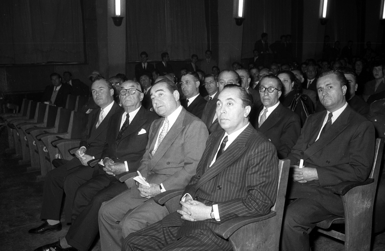 Adnan Menderes (2R) and Hasan Polatkan (L) attend an opening ceremony at Ankara University, in the capital Ankara, Turkey, Jan. 1, 1958. (AA PHOTO)
