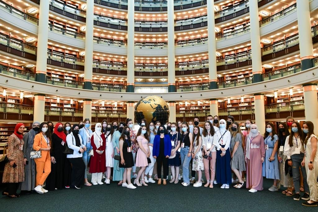 Turkish language students from Serbia visit The Nation's Library, in the capital Ankara, Turkey, July 5, 2021. (COURTESY OF YTB)